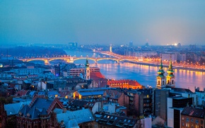 Picture bridge, the city, lights, river, building, home, the evening, lighting, panorama, Hungary, Budapest, Budapest