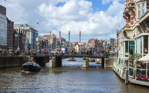 Picture water, bridge, the city, boat, building, Amsterdam, channel, architecture, tourism, bridge, water, ship, Holland, town, ...