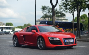 Picture audi, red, street, v10, r8
