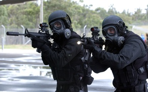 Picture weapons, gas mask, Soldiers, helmet, sight, fighters, special forces, MP5