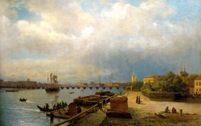 Picture the sky, water, clouds, bridge, people, ships, boats, Saint Petersburg, painting, Lev Lagorio, View on …