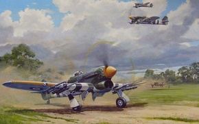 Picture aircraft, war, airplane, aviation, dogfight, hawker typhoon