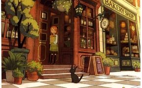 Picture cat, street, girl, pots, shop, showcase, Bakeri shop