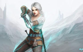 Wallpaper girl, art, Ciri, Witcher 3: Wild Hunt, Cirilla