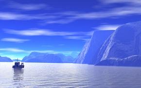 Picture sea, the sky, landscape, rocks, glacier, boat