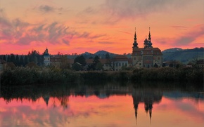 Picture sunset, lake, hills, temple, Basilica, Czech Republic, Velehrad, Basilica of Virgin Mary's Ascension