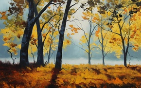 Wallpaper ART, ART, FIGURE, TREES, AUTUMN, ARTSAUS, MORNING SUNLIGHT