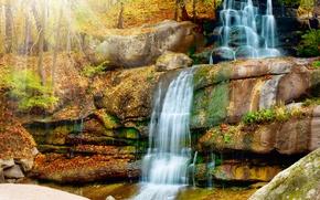 Wallpaper the sun, trees, nature, Park, waterfall, cascade, waterfall, Scenery