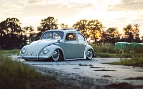 Picture road, the sky, trees, sunset, Volkswagen, wheel, Beetle, sunroof