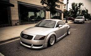 Picture Audi, Audi, street, silver, stance