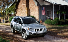 Picture house, yard, jeep, SUV, car, jeep-compass