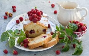 Picture leaves, berries, raspberry, dessert, cakes, glaze, cupcake