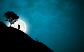 Picture tree, the moon, Night, slope, soldiers