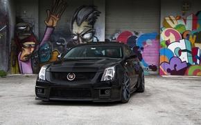 Picture black, Cadillac, before, grafiti, black, CTS-V, Cadillac