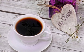 Picture love, heart, flowers, cup, spring, coffee