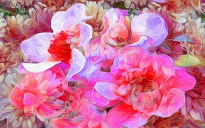 Picture flowers, nature, rendering, petals