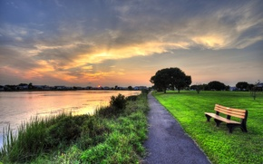 Picture sunset, lake, Park, lawn, track, shop