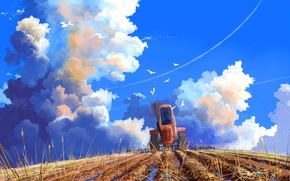 Picture field, the sky, clouds, mood, art, tractor