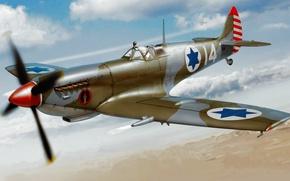 Picture war, art, airplane, painting, aviation, Supermarine Spitfire, ww2
