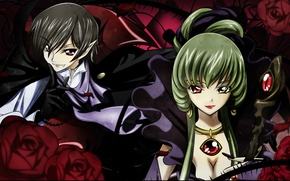 Picture roses, spikes, green hair, art, code geass, c.c., different eyes, takahiro himura, lelouche lamperouge