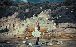 Picture girl, paper, the wind, dress, leaves, The Journey