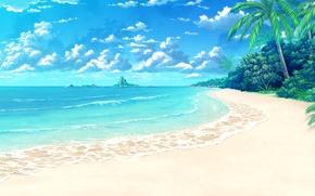 Picture sea, beach, clouds, tropics, palm trees, island, art