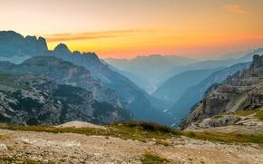 Picture landscape, mountains, river, dawn, haze