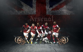 Picture flag, Arsenal, players, Arsenal, the British, Football Club, The Gunners, Theo Walcott, The gunners, Football …