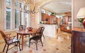 Picture house, room, furniture, interior, window, kitchen, chandelier, mansion, living room