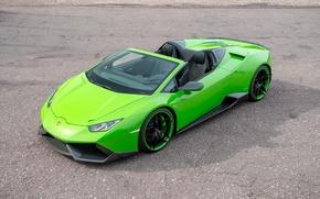 Picture car, green, green, Lamborghini, Lambo, car, Spyder, the front, Novitec, Torado, Huracan