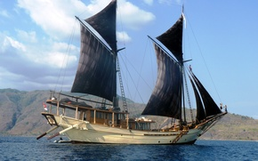 Picture SEA, SHIP, The SKY, CLOUDS, MAST, SAILS, YACHT, BLACK