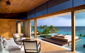 Picture house, the ocean, furniture, interior, pool