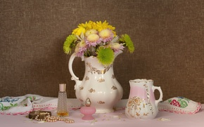 Picture flowers, perfume, necklace, still life, chrysanthemum, bottles
