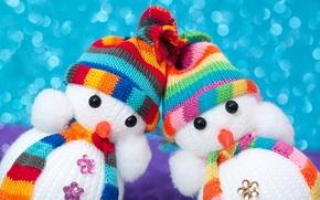 Wallpaper toys, snowmen, beanie