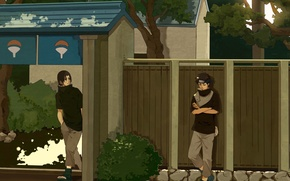 Picture trees, house, naruto, art, itachi, shisui, uchiha clan
