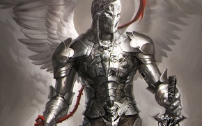Picture weapons, wings, angel, sword, armor, art, knight, sakimichan