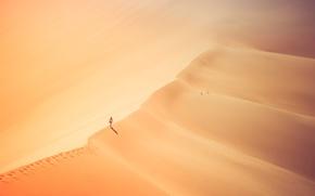 Wallpaper girl, hot, desert, sand, sunny
