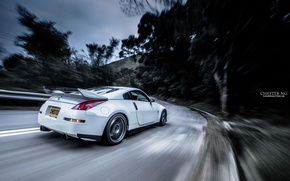 Picture road, forest, tuning, speed, nissan, spoiler, 350z, road, Nissan, speed, white car, 350, the white …