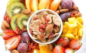 Picture orange, kiwi, strawberry, grapes, fruit, mango, nuts, cereal, Goji