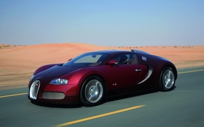 Picture road, sand, auto, desert, Bugatti Veyron, sport car, speed.