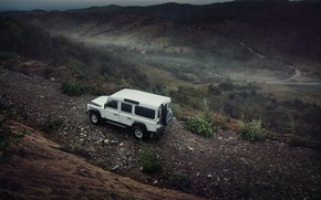 Picture Light, Land Rover, Front, 4x4, Defender, SUV, Jeep, Wheels, Mountain Road