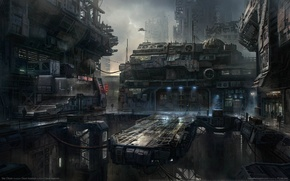 Picture the city, fiction, building, planet, ships, game wallpapers, Star Citizen