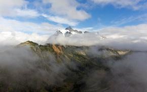 Picture clouds, landscape, fog, mountain, landscape, clouds, mountain, snow, fog, mist, outdoors