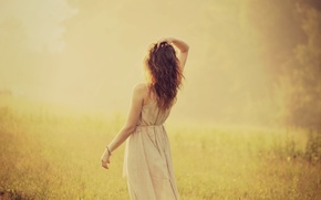 Picture greens, girl, the sun, nature, background, widescreen, Wallpaper, mood, hair, back, plant, hand, dress, wallpaper, …