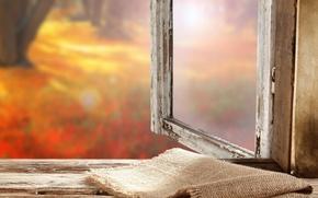 Picture autumn, window, sill, burlap