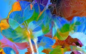 Picture flowers, nature, rendering, petals