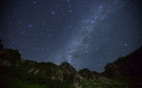 Picture space, stars, mountains, night
