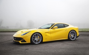 Picture Fog, Yellow, Asphalt, Ferrari, Car, berlinetta, F12