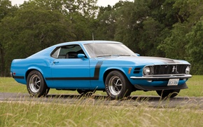 Picture road, blue, Mustang, Ford, Ford, Mustang, Boss 302, 1970, the front, Muscle car, Boss, Muscle …
