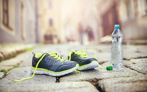 Picture fitness, running shoes, healthy lifestyle, mineral water